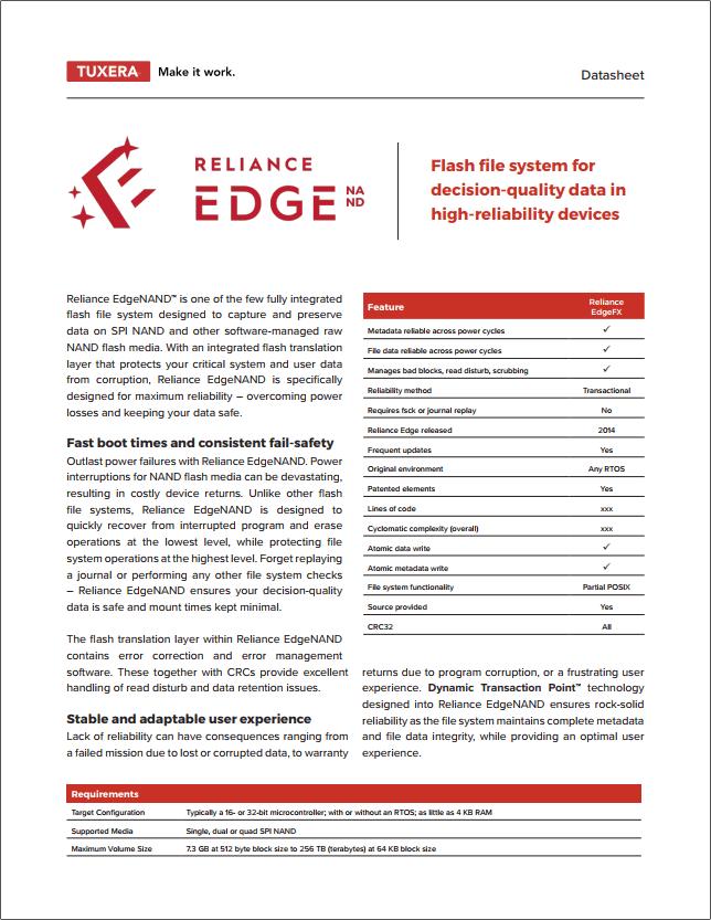 Reliance EdgeNAND Datasheet