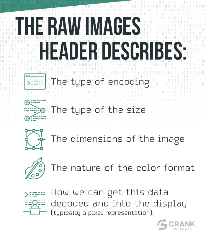 The raw images header describes-bulleted list-The type of encoding-The type of the size-The dimensions of the image-The nature of the color format-How we can get this data de